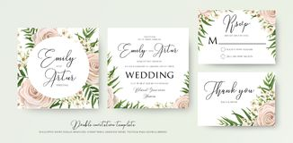 Wedding floral watercolor style double invite, rsvp, thank you c. Ard design with pink, creamy white garden rose, wax flowers, green tropical palm tree leaves Royalty Free Stock Photo