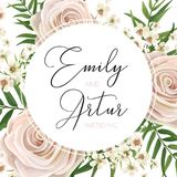 Wedding floral watercolor style invite, invitation, save the dat. E card Design with pink, creamy white garden rose, wax flowers, green tropical palm tree leaves Royalty Free Stock Image