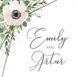 Wedding floral watercolor style invite, invitation, save the dat. E card design with white anemones poppies, forest green eucalyptus branches & leaves greenery Stock Photography