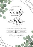 Wedding floral watercolor style invite, invitation, save the dat. E card design with cute Eucalyptus tree branches with greenery leaves & silver stripes stock illustration