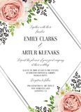 Wedding floral watercolor style invite, invitation, save the dat. E card design with pink garden rose, white anemones, magnolia flower, green fern leaves & black stock illustration
