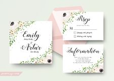 Wedding floral watercolor style invite, rsvp, save the date, tha. Nk you card Design with pink, creamy white anemone, wax flowers, forest green forest fern Stock Photography