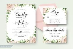 Wedding floral watercolor style invite, rsvp save the date thank. You card Design with creamy white garden rose, wax flowers, green tropical palm tree leaves Royalty Free Stock Photography