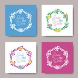 Wedding floral wreath save the date cards stock illustration