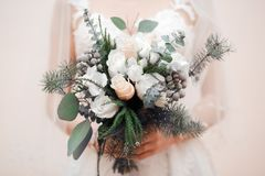 Wedding floristics in the form of a bouquet royalty free stock images