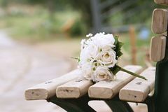 Wedding flower. A bunch of wedding flower lying on the chair Royalty Free Stock Image