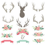 Wedding Flower Antlers Set vector illustration