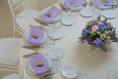 Wedding flower arrangement. With blue violet pink flowers Royalty Free Stock Photo