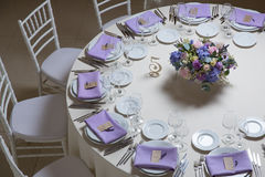 Wedding flower arrangement. With blue violet pink flowers Royalty Free Stock Image