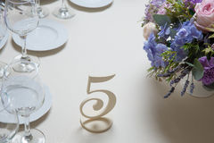 Wedding flower arrangement. With blue violet pink flowers Stock Image