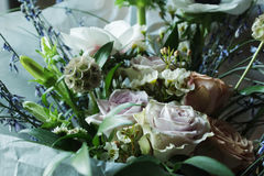 Wedding Flower arrangement. Flower arrangement with branches of a pistachio branches of Ruscus, carnations, roses, branch of Brunei, berries of Hypericum Stock Photography