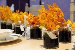 Wedding flower arrangement table setting Stock Image