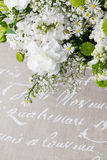 Wedding flower arrangement with white carnations Royalty Free Stock Photography