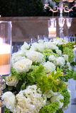 Wedding Flower Arrangements. Wedding Decorations with Flowers, Extravagant Rose Bouqets, Candles Royalty Free Stock Photo