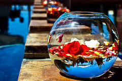 Wedding Flower Arrangements in a fish bowl Royalty Free Stock Image
