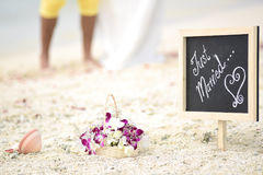 Wedding Flower basket, ring shell and Just married chalkboard, Stock Photos