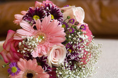 Wedding flower bouquet. Wedding flowers bouquet with lots of pink Stock Photo