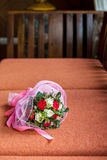 Wedding flower bouquet on bench Royalty Free Stock Photos