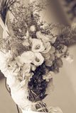 Wedding flower bouquet for the bride. In sepia mode.Beautiful bunch of flower Royalty Free Stock Photography