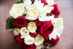 Wedding flower bouquet with pink red and white roses Royalty Free Stock Photography