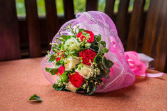 Wedding flower bouquet on sofa Royalty Free Stock Photos