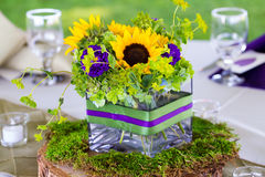 Wedding Flower Centerpieces at Reception Table Stock Image