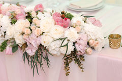 Wedding flower decor of roses and peonies, closeup Stock Images