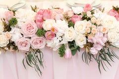 Wedding flower decor of roses and peonies, closeup Stock Photo