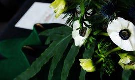 Wedding flower on green background stock photos