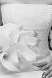 Wedding flower in hand black and white Royalty Free Stock Photo