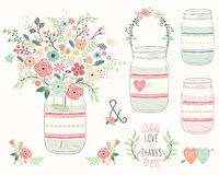 Wedding Flower Mason Jar royalty free illustration
