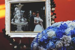 Wedding flower and picture wedding background royalty free stock photography