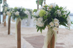 Wedding flower post on beach Stock Images