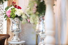Wedding Flower in A Pot. Flower in a room of wedding event Royalty Free Stock Image