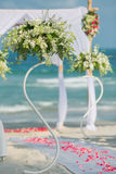 Wedding flower setting. On the beach Stock Photo