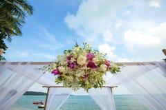 Wedding flower setting. On the beach Royalty Free Stock Image