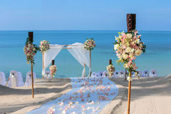 Wedding flower setting. On the beach Stock Images