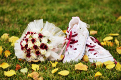 Wedding flower and shoes Stock Photos