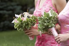 Wedding Flowers. Brides maids wedding bouquets, sharp focus on the rear flowers Stock Photo