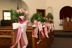 Wedding flowers. Floral decorations for a wedding in a church royalty free stock photo