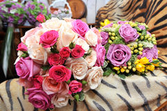 Wedding flowers. Wedding roses in different colours Royalty Free Stock Image