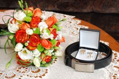 Wedding flowers. And belt before party begin royalty free stock photo