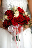 Wedding flowers. Brides Flowers, wedding bouquet of red and white roses Royalty Free Stock Photography