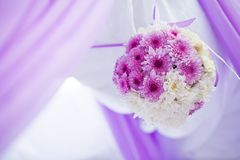 Wedding flowers. Raw of carnations balls as a wedding decor Royalty Free Stock Photos