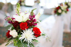 Wedding and flowers. Religious wedding ceremony, nice wedding bouquet is right next to the final aisle to marriage royalty free stock photography
