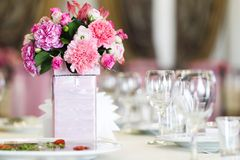 Wedding flowers. A decor in table closeup Royalty Free Stock Photography