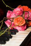 Wedding Flowers. Wedding Bouquet with pink roses and orange beads stock image