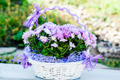 Wedding flowers in a basket Stock Images