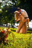 Wedding flowers bouquet on the  grass Stock Photography