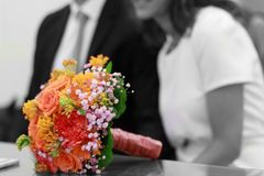 Wedding flowers bouquet. Monocrome and colours Royalty Free Stock Photo